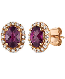 Le Vian® Raspberry Rhodolite® Garnet (1-5/8 ct. t.w.) and Diamond (1/4 ct. t.w.) Stud Earrings in 14k Rose Gold