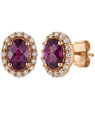 Le Vian Rhodolite Garnet 1/5 ct tw Diamonds 14K Gold Earrings