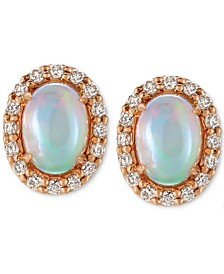 Opal (3/4 ct. t.w.) and Diamond (1/4 ct. t.w.) Stud Earrings in 14k Rose Gold