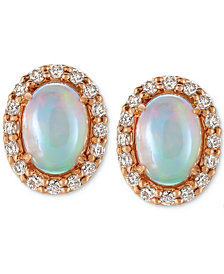 Le Vian® Opal (3/4 ct. t.w.) and Diamond (1/4 ct. t.w.) Stud Earrings in 14k Rose Gold