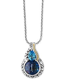 EFFY® Ocean Bleu London Blue Topaz (5-1/5 ct. t.w.) and Swiss Blue Topaz (3/4 ct. t.w.) Pendant Necklace in Sterling Silver and 18k Gold