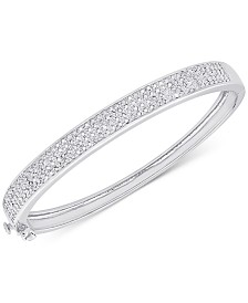Diamond Pave Hinged Bangle Bracelet 1 Ct T W In Sterling Silver Or 18k