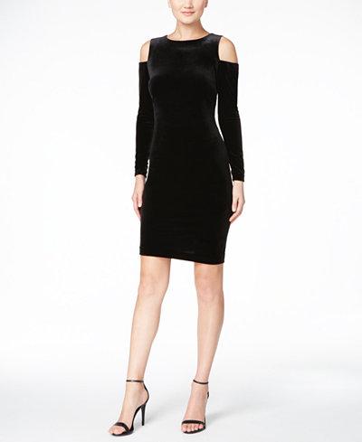 Calvin Klein Velvet Cold-Shoulder Sheath Dress