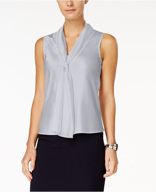 322935903cbe74 Nine West Sleeveless Tie-Front Blouse & Reviews - Tops - Women ...
