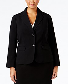 Plus Size Crepe Two-Button Jacket