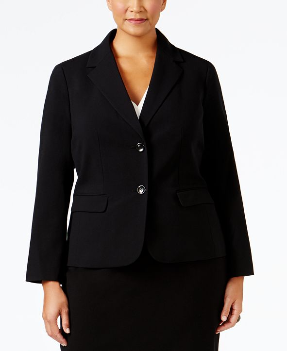 Nine West Plus Size Crepe Two-Button Blazer
