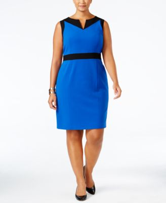 Nine West Plus Size Colorblocked Sheath Dress