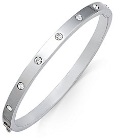 kate spade new york Silver-Tone Crystal Bangle Bracelet
