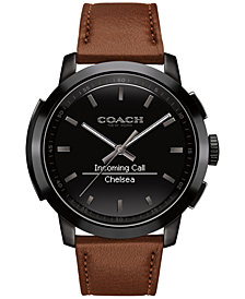 COACH Men's Bleecker Smart Brown Leather Strap Smart Watch 44mm 14602113