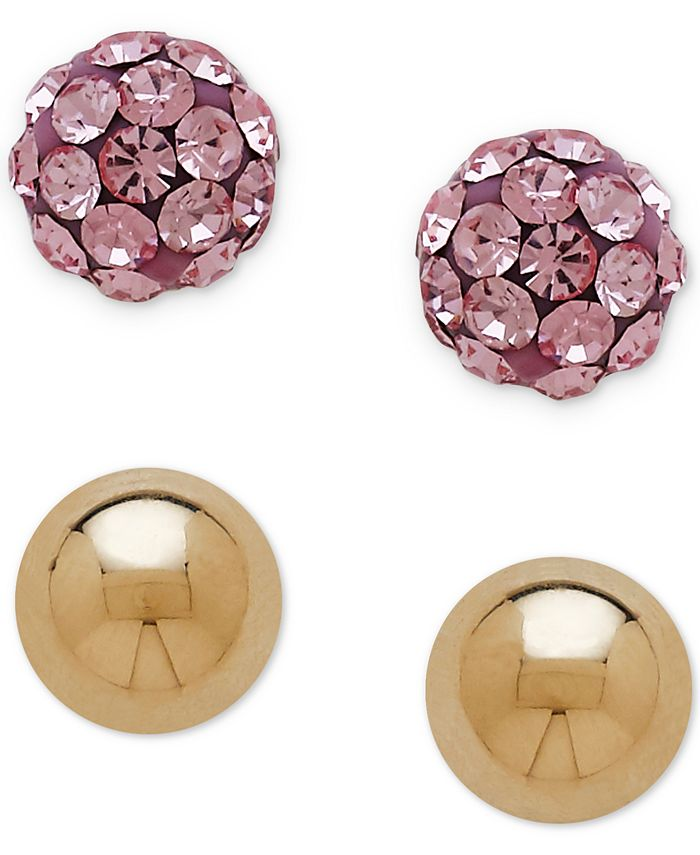 Macy's - 2-Pc. Set Pink Crystal and Ball Stud Earrings in 14k Gold