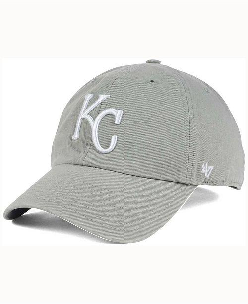sale retailer 1e60f 0bfae  47 Brand Kansas City Royals Gray White CLEAN UP Cap    ...