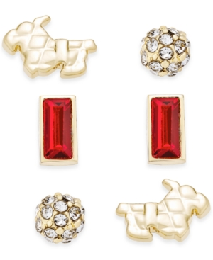 Vera Bradley Gold-Tone Loyal Friend Stud Earrings Set of 3
