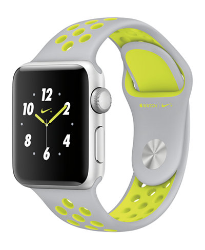 Apple Watch Nike+ 38mm Silver-Tone Aluminum Case with Flat Silver-Tone/Volt Nike Sport Band