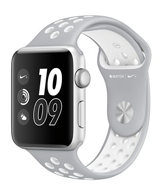 Apple Watch Nike+ 42mm Silver-Tone Aluminum Case with Flat Silver-Tone/White Nike Sport Band