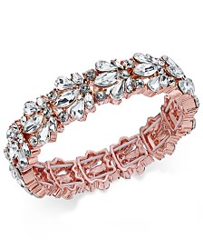 Charter Club Rose Gold-Tone Crystal Stone Stretch Bracelet, Created for Macy's