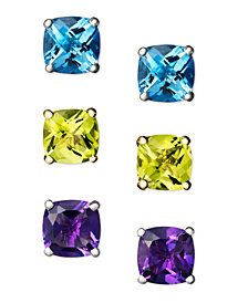 Semi-Precious Gemstone Cushion Stud Earrings in 14k White and Yellow Gold