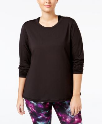 Ideology Plus Size Base-Layer Space-Dyed Top, Only at Macy's
