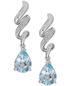 Aquamarine (1-7/8 ct. t.w.) and Diamond Accent Twist Drop Earrings in Sterling Silver