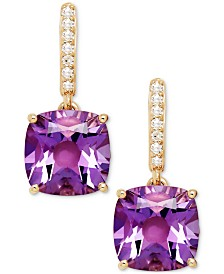 Blue Topaz (5-1/2 ct. t.w.) and Diamond Accent Drop Earrings in 14k White Gold (Also Available in Amethyst)