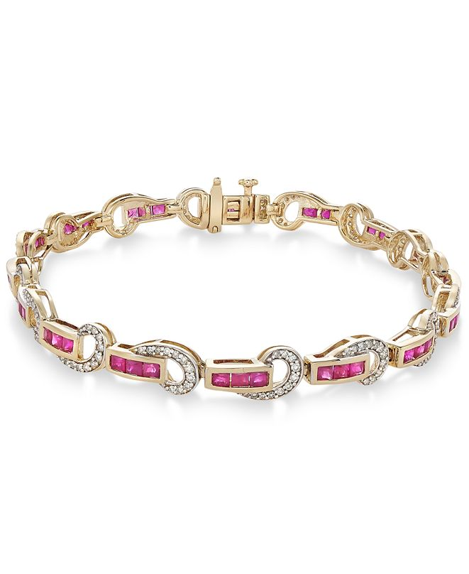 Macy's Emerald (2-1/2 ct. t.w.) and Diamond (5/8 ct. t.w.) Swirl Link Bracelet in 14k Gold(Also Available In Certified Ruby)