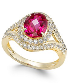 Lab-Created Ruby (2 ct. t.w.) and White Sapphire (3/4 ct. t.w.) in Gold-Plated Sterling Silver