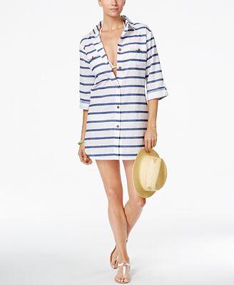 Dotti Tulum Striped Cover-Up Shirt