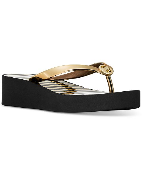 5929c66493c901 Michael Kors Bedford Shiny Platform Flip-Flops   Reviews - Sandals ...