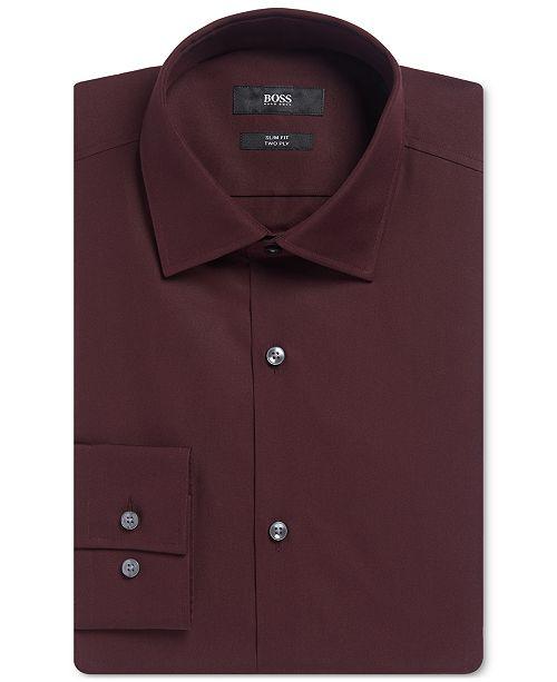 2bc29bdeb Hugo Boss BOSS Men's Slim-Fit Two-Ply Dress Shirt & Reviews - Dress ...