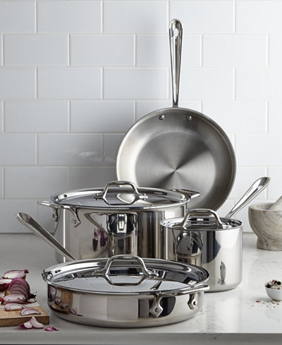 All Clad Stainless Steel 7 Pc Cookware Set Only At Macy