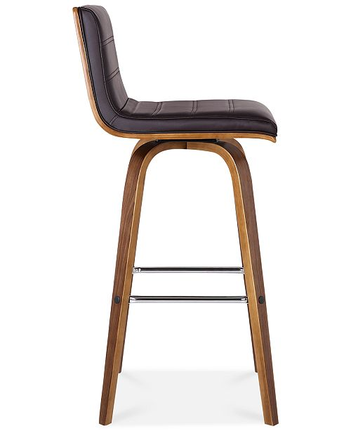 Super Vienna 30 Bar Height Barstool In Walnut Wood Finish With Grey Faux Leather Pdpeps Interior Chair Design Pdpepsorg