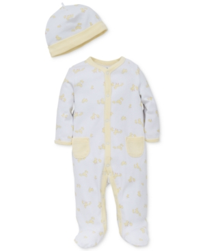 Little Me Baby Girls 2Pc Ducks Hat  Footed Coverall Set