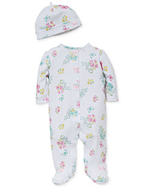 Little Me Baby Girls 2-Pc. Meadow Hat & Footed Coverall Set