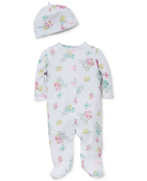 Little Me Baby Girls 2Pc Meadow Hat  Footed Coverall Set