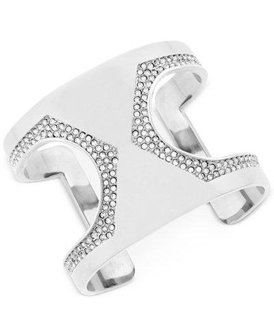 Vince Camuto Silver-Tone Pav� Cutout Cuff Bracelet