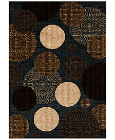 "CLOSEOUT!!!  KM Home Sanford Comet Black/Blue 7'10"" x 10'10"" Area Rug, Created for Macy's"