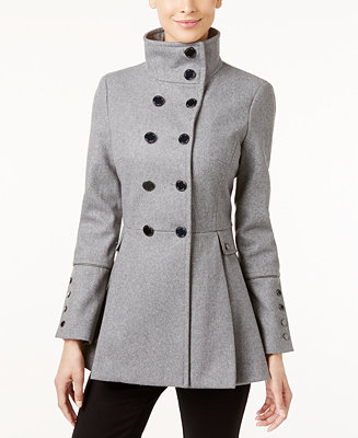 Calvin Klein Stand Collar Skirted Peacoat Coats Women