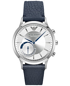 Emporio Armani Men's Renato Blue Leather Strap Hybrid Smart Watch 43mm ART3003