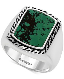 EFFY® Men's Manufactured Turquoise Ring (3-9/10 ct. t.w) in Sterling Silver and Black Lacquer