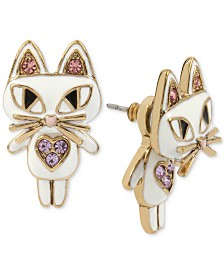 Betsey Johnson Gold-Tone White Enamel Cat Earring Jackets