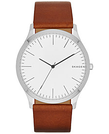 Skagen Men's Light Brown Leather Strap Watch 41mm SKW6331