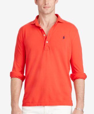 Ralph Lauren Wine Red Mesh Polo Men Long Sleeved