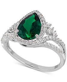 Lab-Created Emerald (1-3/4 ct. t.w.) and White Sapphire (3/8 ct. t.w.) Ring in Sterling Silver