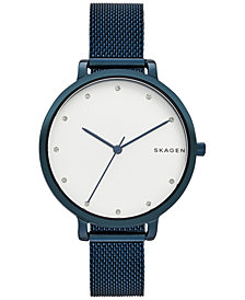Skagen Women's Blue Stainless Steel Mesh Bracelet Watch 34mm SKW2579