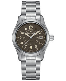 Hamilton Men's Swiss Khaki Field Stainless Steel Bracelet Watch 38mm H68201193