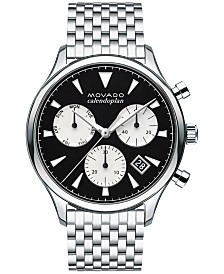 Movado Men's Swiss Chronograph Heritage Stainless Steel Bracelet Watch 43mm 3650014