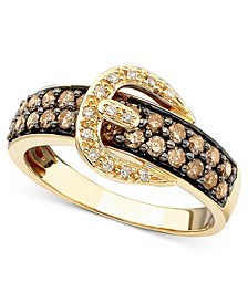 Chocolate Diamond (3/4 ct. t.w.) and White Diamond Accent Buckle Ring  in 14k Gold