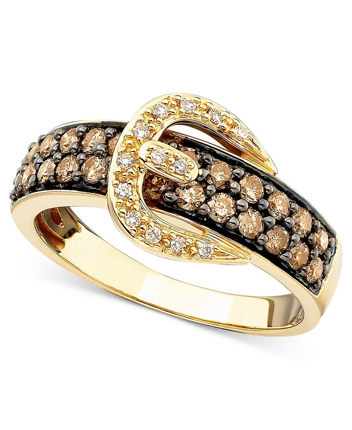 Le Vian - Chocolate Diamond (5/8 ct. t.w.) and White Diamond Accent Buckle Ring  in 14k Gold
