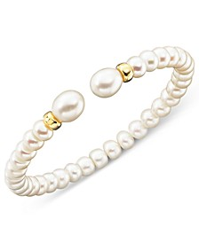 Cultured Freshwater Pearl (7mm) Rondelle Bracelet in 14k Gold