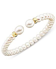 Cultured Freshwater Pearl (7mm) Rondelle Bracelet in 14k Gold