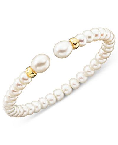 Cultured Freshwater Pearl Rondelle Bracelet in 14k Gold